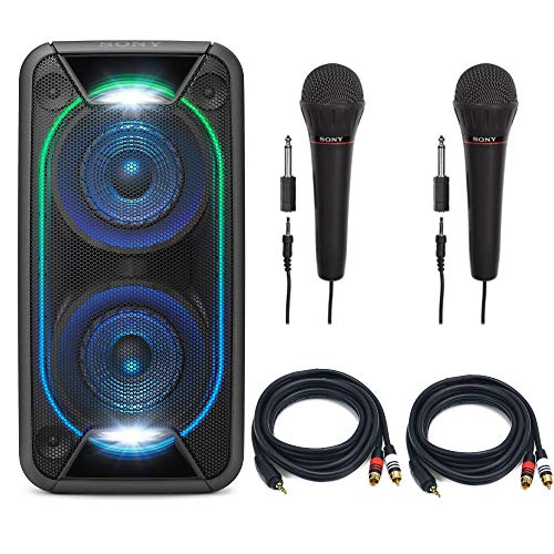 Sony GTKXB90 High Power Portable Bluetooth Speaker with Sony Mic and 6ft. Premium Audio Cable