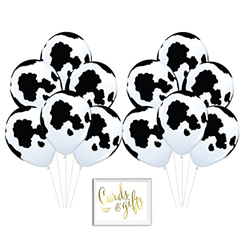 Andaz Press Bulk High Quality Latex Balloon Party Kit with Gold Cards & Gifts Sign, Black and White Cow Printed 11-inch Balloons, Wholesale 50-Pack, Farmyard Barn Country Picnic Birthday -