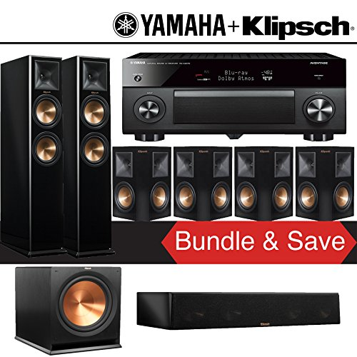 Klipsch RP-260F 7.1-Ch Reference Premiere Home Theater System (Piano Black) with Yamaha AVENTAGE RX-A2070BL 9.2-Channel Network A/V Receiver