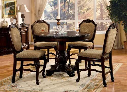 ACM Chateau De Ville II 5-Piece Espresso Finish Wood round Counter Height Pedestal Dining Table Set with Diamond Pattern Fabric Padded Chairs
