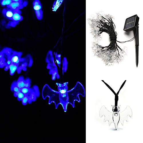 Weanas Bat Lights String, 30 LED 20ft Solar Powered Fairy String Lights, Decorative Lights for Indoor/Outdoor, Halloween, Cool Party, Surprising Gift