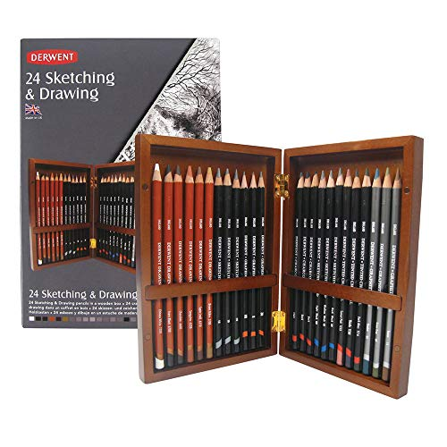 (Derwent Sketching and Drawing Pencils, Wooden Box, 24 Count)