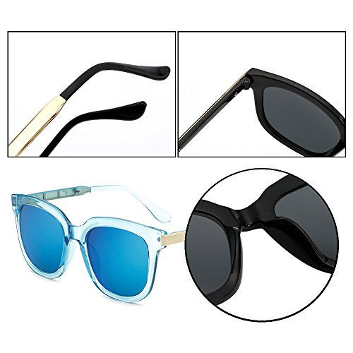 femmes mode non KINDOYO de hommes UV400 Bleu de protection polarisées lunettes unisexes lunettes Lunettes ovales soleil lunettes Lentille soleil de et soleil Cadre miroir soleil de Bleu lunettes 0X7B0nx