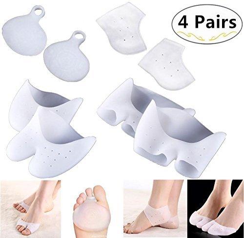 4 Pair Metatarsal Gel Pads Kit - Magnolora Metatarsal Ball of Foot Cushions & Gel Heel Protector & Vented Toe Sleeve Pads & Half Toe Sleeve Pads, Relieve Foot Pain Gel Cushions Pad