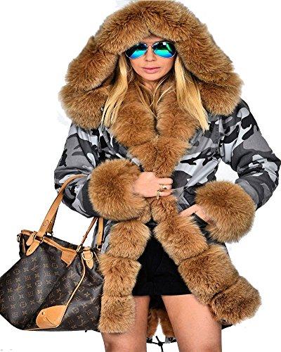 roiii Mujer Piel sintética con capucha tamaño 8–�?8de invierno perchero de pared de Parka chaqueta larga para hombre marrón