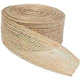 KINGLAKE 10M Natural Jute Burlap Ribbon Strap Crafts Jute Hessian for Rustic Wedding Home Craft Decorations