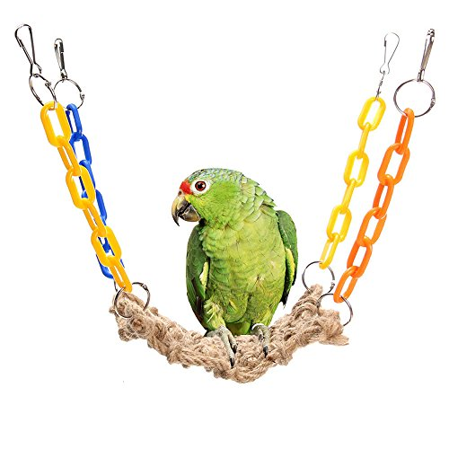 Mrli Pet Bird Rope Swing,Hanging Hemp Rope Hammock Swing Toy for Pet Hamaster Chinchilla Parrot Net Bird Cage Perch Swinging Training Toys by Mrli Pet