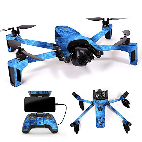 MightySkins Skin for Parrot Anafi Drone – Blue Mystic Flames | Protective, Durable, and Unique Vinyl Decal wrap Cover | Easy to Apply, Remove, and Change Styles | Made in The USA