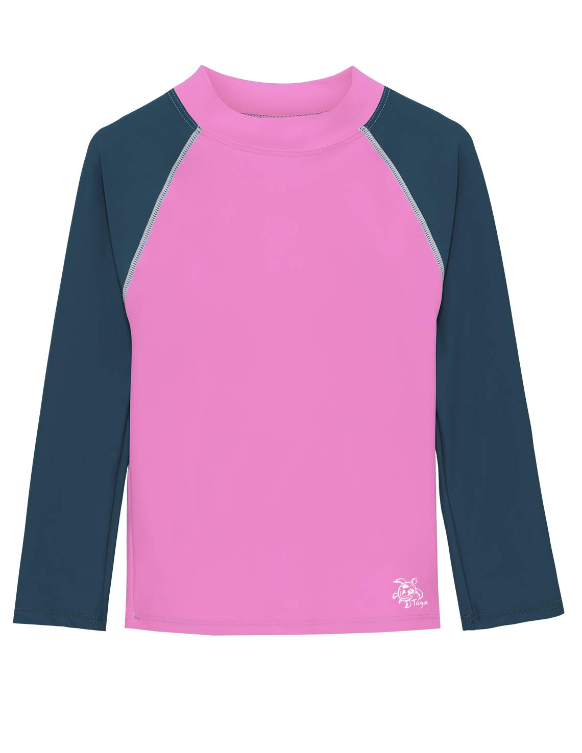 Tuga Basics Girls L/S Rash Guard (UPF 50+), Blush/Steely Blue, 8/10 yrs by Tuga Sunwear