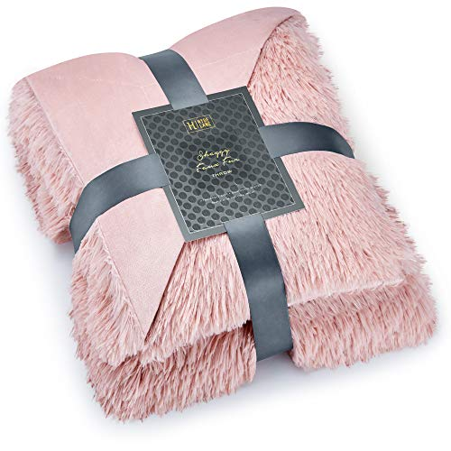Hyde Lane Faux Fur Throw Rose Gold Blanket - 2 Way Reversible Fuzzy Pink Blanket | Luxury Shaggy Long Faux Fur & Cozy Mink | - Blush, 50x60