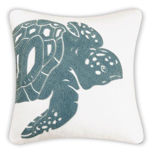 Sea Turtle Decorator Pillow, Sea Green and White [並行輸入品] B07R83CSPQ