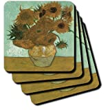 3dRose cst_119816_3 Van Gogh Heavily Textured Still Life with 12 Sunflowers Ceramic Tile Coasters, Set of 4