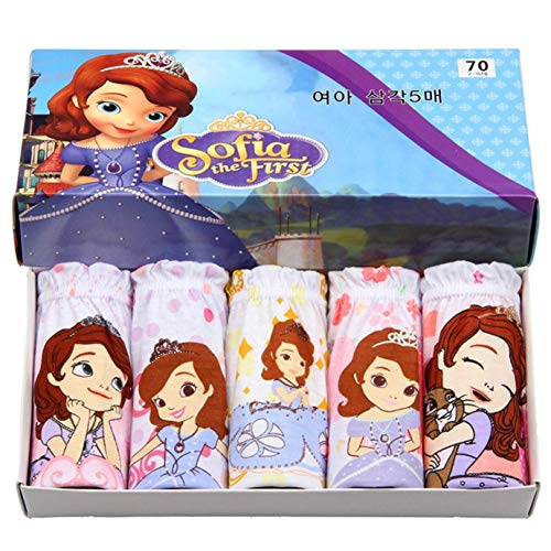 Ku-lee Little Girls Sofia The First Underwear 100% Cotton Panty for Toddlers,Teens 5 -