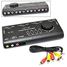 iKKEGOL 4 in 1 AV Audio Video Signal Switcher S-Video Selector with RCA Cable