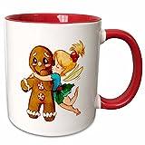 3dRose mug_223266_5 Cute Fairy Kissing Gingerbread Man Ceramic, 11 oz, Red/White
