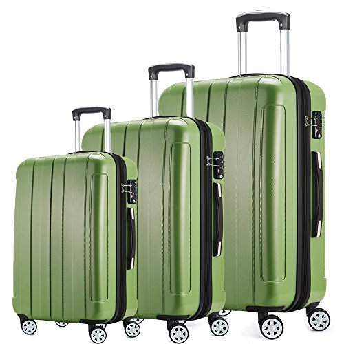 Fochier Luggage 3 Piece Expandable Spinner Set with TSA Lock
