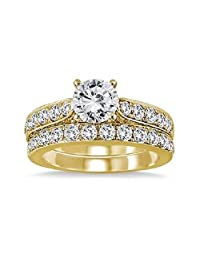 1 7/8 Carat Lab Created Diamond Engagement Wedding Ring Bridal Set in 14k Yellow Gold Plated Alloy