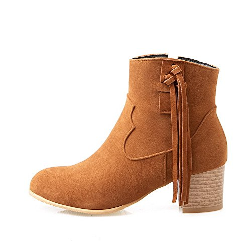 Allhqfashion Women's Low-Top Zipper Frosted Kitten-Heels Round Closed Toe Boots Brown HQQxjs8