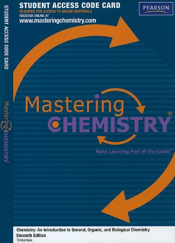 MasteringChemistry -- Standalone Access Card -- for Chemistry: An Introduction to General, Organic, and Biological Chemi