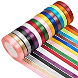 Tomkity 400 Yards 16 Colors Ribbons Bows for Crafts in 0.24'' in Wide for Bows Crafts Gifts Party Wedding