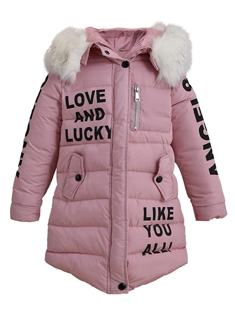 ShallGood Girls Winter Coats Kids Girls Outerwear Jacket Warm Cotton Overcoat Furry Hooded Coat Long Sleeve Parka Down Coat Autumn Winter Warm Clothes