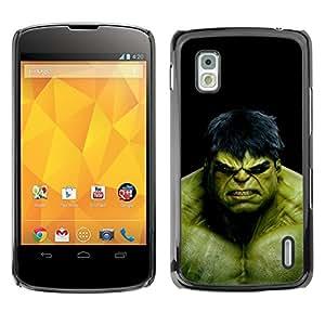 ROKK CASES / LG Google Nexus 4 E960 / THE GREEN MONSTER / Delgado Negro Plástico caso cubierta Shell Armor Funda Case Cover