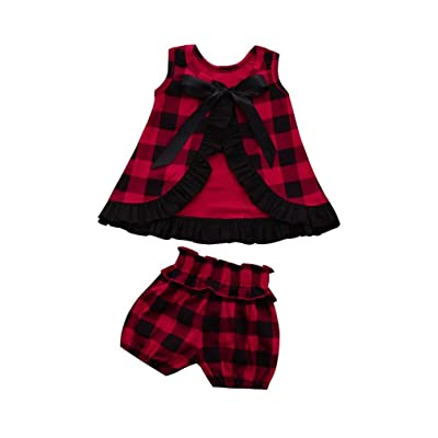 AliveGOT Unisex Baby Boy Girl Clothes Backless Ruffles T-Shirt Tops+Shorts Plaid Set Outfits