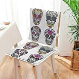 Mikihome Chair Pads 2 Piece Set Ornate Mexican Sugar Skull with Flower and HeartCalaver Classic Desig Bistro Chair Cushion Mat:W17 x H17/Backrest:W17 x H36