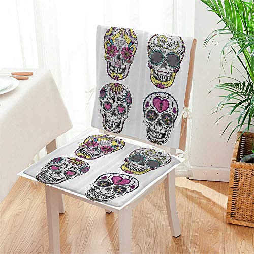 Mikihome Chair Pads 2 Piece Set Ornate Mexican Sugar Skull with Flower and HeartCalaver Classic Desig Bistro Chair Cushion Mat:W17 x H17/Backrest:W17 x H36 by Mikihome