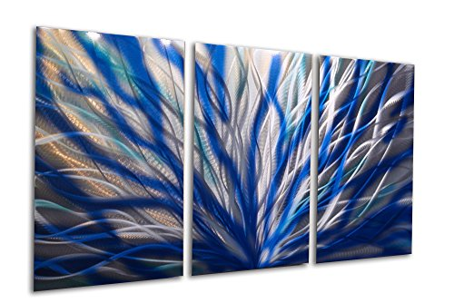 Metal Wall Art, Modern Home Decor, Abstract Artwork Sculpture- Radiance Blue 47 v2 by Miles Shay by Miles Shay