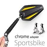 KiWAV Magazi Achilles motorcycle mirrors gold fairing mount w/ chrome adapter for sports bike adjustable e