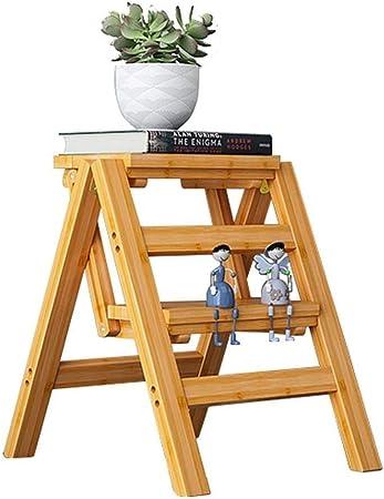 XITER Bambú de Madera Escalera de 2 escalones Taburete de Escalera Plegable Sillas de Escalera Silla de Escalera de Seguridad for el hogar: Amazon.es: Hogar