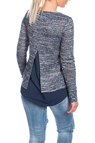 Tom Tailor Damen Bluse-Shirt Fabric Mix 2 in 1 10303170070 long Hemd blau neu