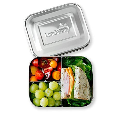LunchBots Trio II Stainless Steel Food Container - Three Section Design Perfect for Healthy Snacks, Sides, or Finger Foods On The Go - Eco-Friendly, Dishwasher Safe and BPA-Free - All Stainless by LunchBots (Image #5)