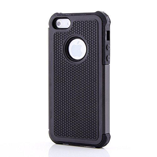 TCD for Apple iPhone 5C Black Executive Armor Defender Series [HIGH IMPACT] Multi Layer [Hard/Soft Combo] TPU & Hard Plastic Shock Absorbent Case [SCREEN PROTECTOR STYLUS]