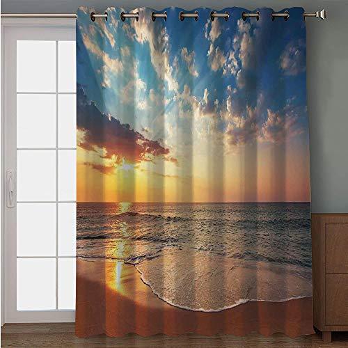 iPrint Blackout Patio Door Curtain,Ocean Decor,Cloudscape Over The Sea Honeymoon Travel Destination Sunrise Panoramic Shot,Blue Yellow Brown,for Sliding & Patio Doors, 102