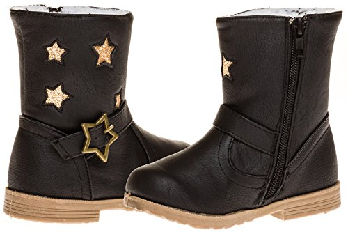 Black And Gold Boots - Sara Z Toddler Girls Boot With Star Buckle (Black/Gold), Size 9-10