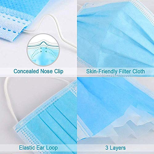 Earloop Face Mask, Sanitary Surgical Face Shields, Dust Mask - Blue, 50pcs