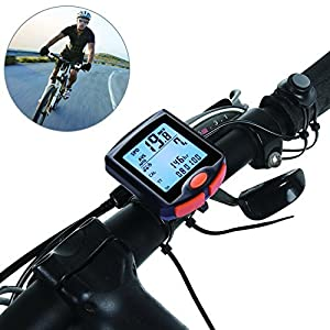 FitMaker Bike Computer, Waterproof Multifunction Cycling Speedometer with Backlit Display, 60g Wireless Multi Functional Bicycle Odometer (Black) (Black)