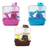 SODIAL(R) 2 Floors Storey Hamster Cage Mouse house with slide disk spinning bottle