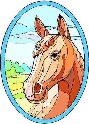 ブラウンHorse – エッチングビニールStained Glass Film , Static Cling Window Decal 08 in x 12 in ブラウン B005LAS3O4 08 in x 12 in