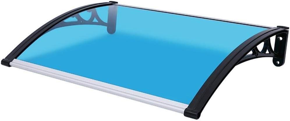 LDD ひさし オーニングレインシェルター ポリカーボネートキャノピー、屋外の庭のシェード、60 X 100センチメートルフロントポーチオーニング、アルミブラケット (Color : Blue)
