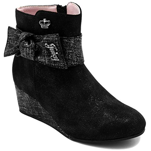 Pink Couture Juicy Leather (Juicy Couture Kids JC Sausalito Girls Wedge Low Shaft Ankle Boot 1 Lil Kids)