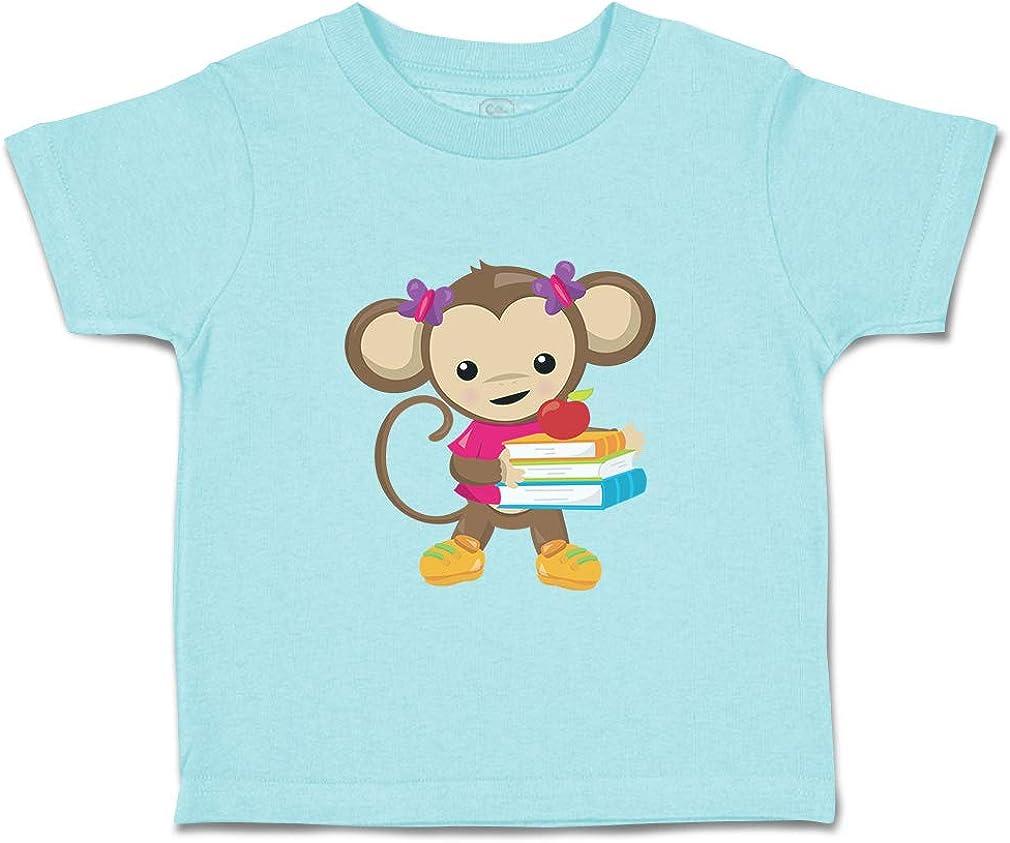 Custom Baby /& Toddler T-Shirt Monkey Books Girl Cotton Boy Girl Clothes