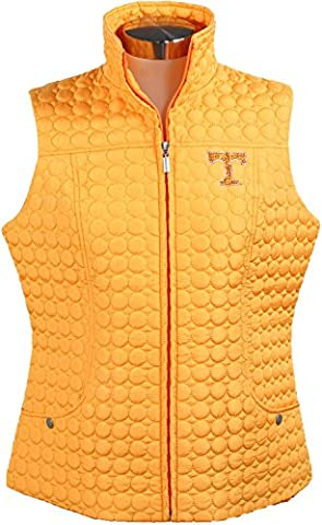 NCAA Tennessee Volunteers Women's Circle Quilted Vest with Rhinestone Power, 2X, Orange - Crystal Quilted Jacket