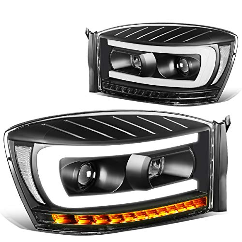 Pair Black Housng Clear Side LED DRL+Sequential Turn Signal Headlight Lamps for 06-09 Dodge Ram Truck