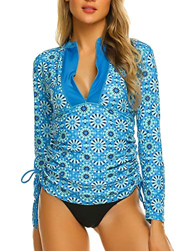 Sheshow Women's Rash Guard Long Sleeve Swim Shirts Quick-Dry Swimsuit Tops Pattern S