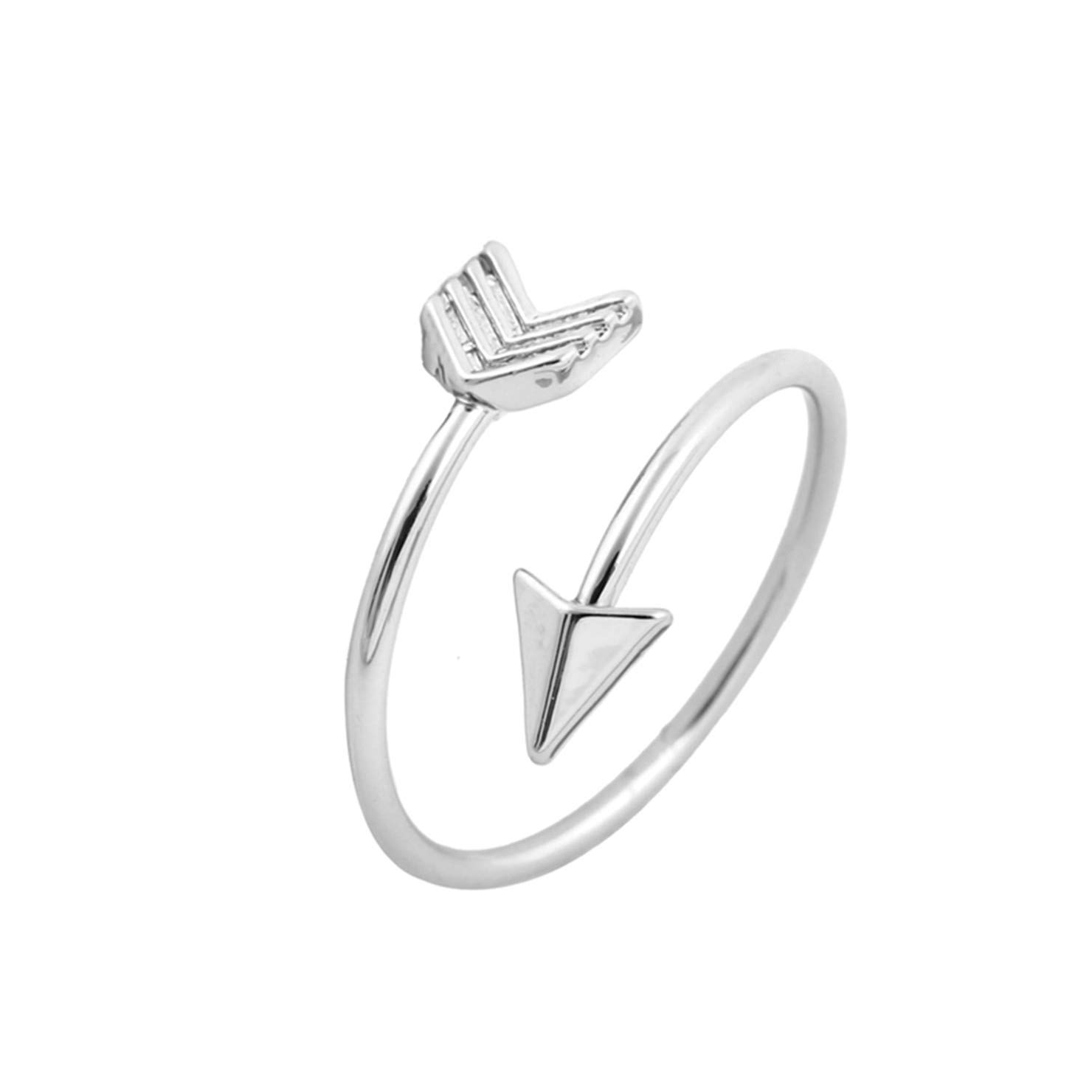 New Classical Silver Color Arrow Ring Fashion Ring for Women Adjustable Engagement Wedding Gift Jewelry D by FuNi Rings