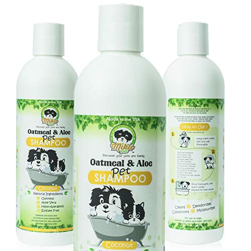 Natural Hypoallergenic Oatmeal Dog Shampoo: Itchy Dry Sensitive Skin Dandruff Wash For Large & Small Breed Adult & Puppy Dogs - Deodorizing & Moisturizing Aloe Pet Hair Grooming Formula - Cruelty Free