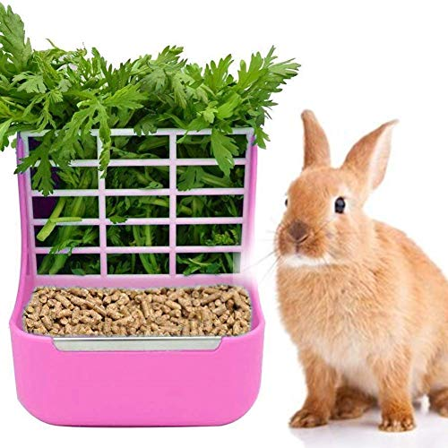(zswell Hay Food Bin Feeder, Hay and Food Feeder Bowls Manger Rack for Rabbit Guinea Pig Chinchilla and Other Small Animals (Pink))